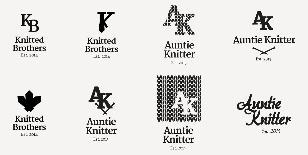 Auntie Knitter previous logo variants