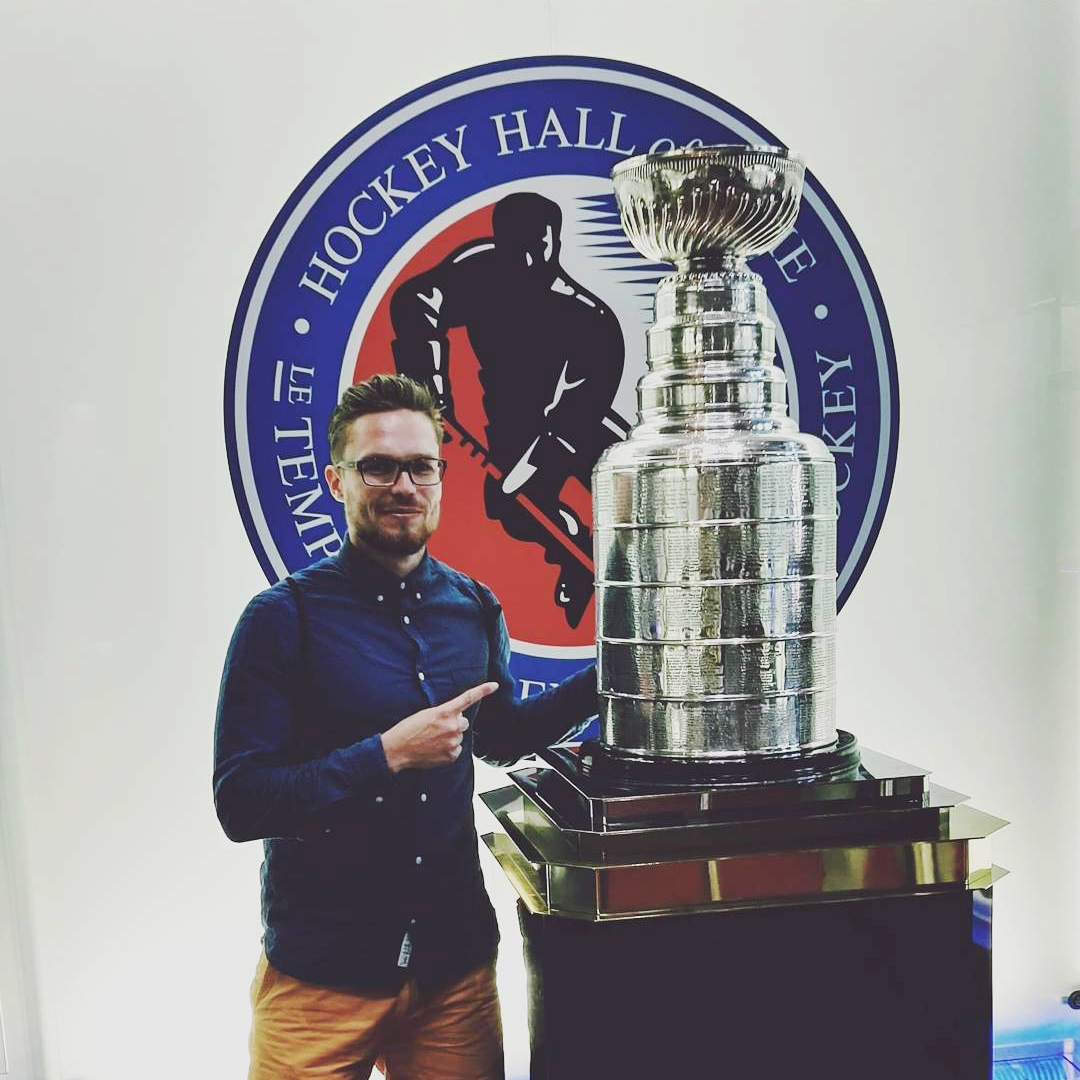 Touching Stanley Cup in Toronto